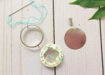 DIY Embroidery Pendant with Metal Frame Setting