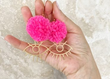 DIY Pompom Statement Earrings with eye charms