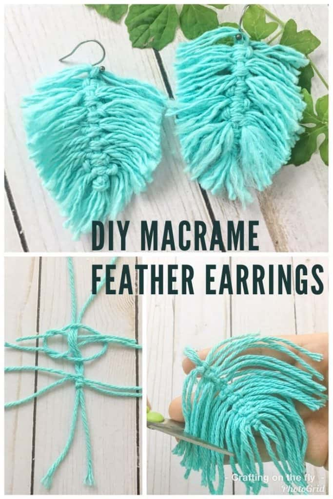 DIY Macrame Feather earrings step by step instructions