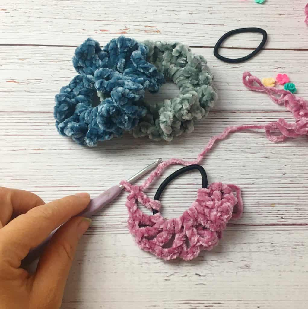DIY Velvet Crochet Scrunchies for Hair