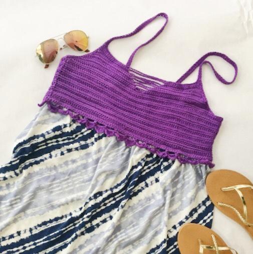 Purple Crop Top Free Crochet Pattern